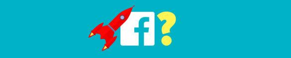 Rocket ship, facebook logo and question mark.