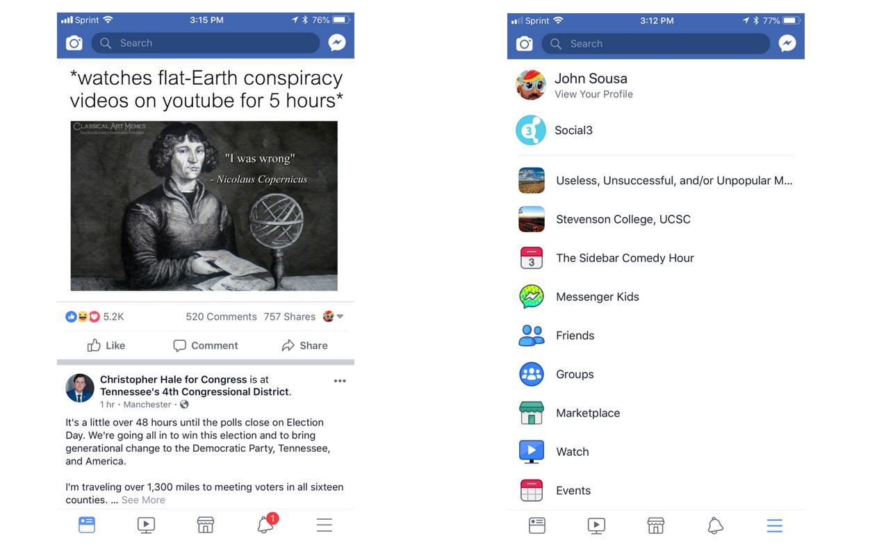 facebook menu bar redesign